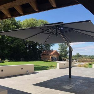 Grey Garden Umbrella with Arm At Side